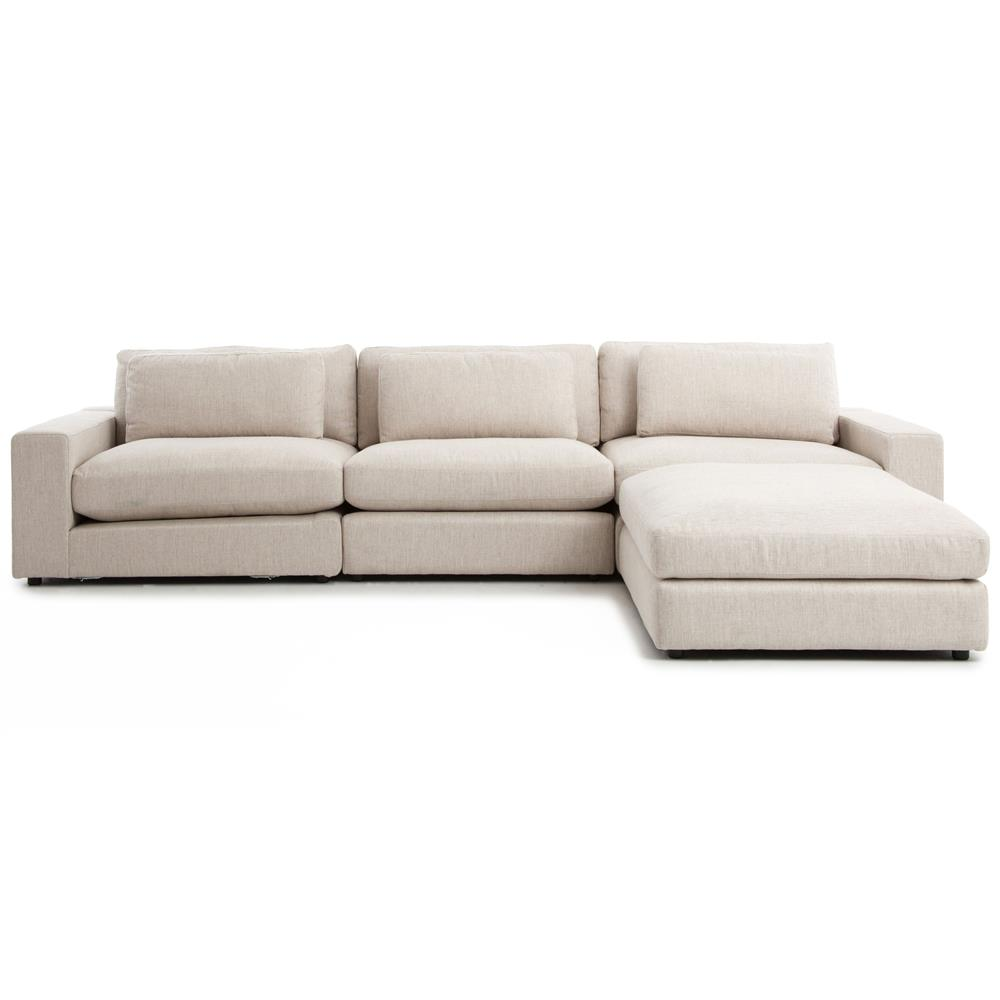 cornerstone modern classic beige linen sectional sofa 131x92. Black Bedroom Furniture Sets. Home Design Ideas