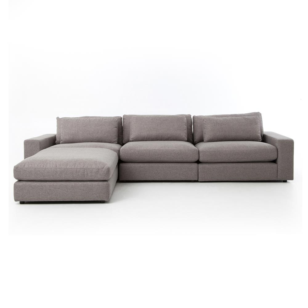 Cornerstone modern classic grey fabric sectional sofa for Sofa modern classic