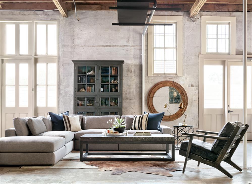 Cornerstone Modern Classic Grey Fabric Sectional Sofa