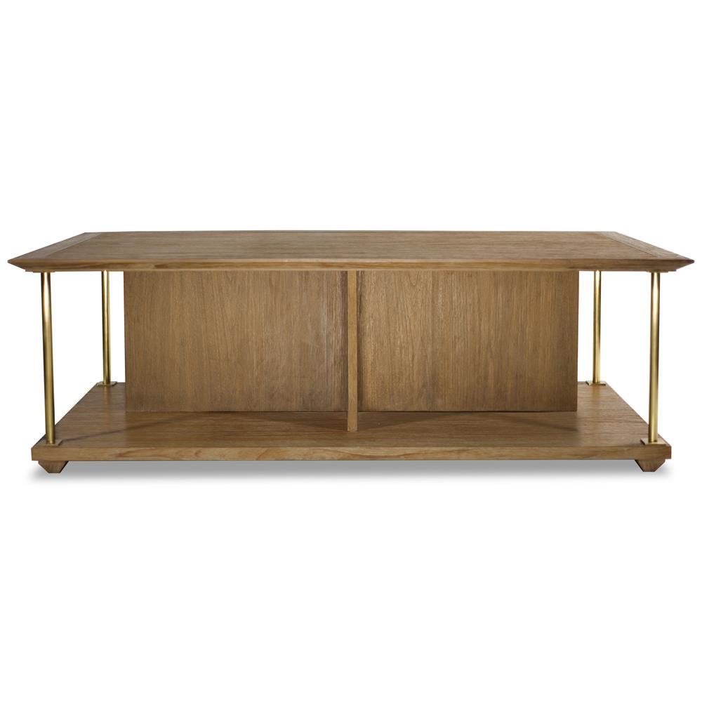 Delaney modern classic brown teak brass coffee table for Teak coffee table