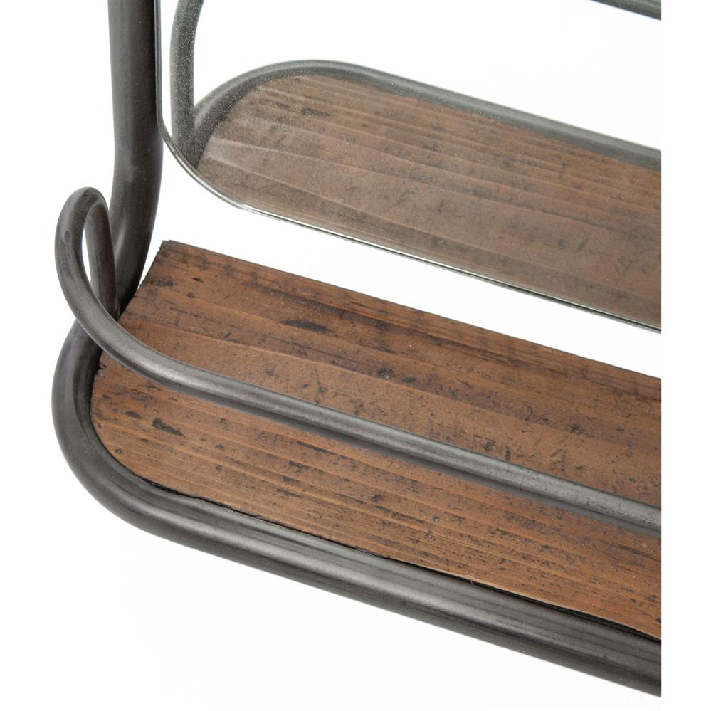 Stewart Industrial Loft Wood Iron Hooks Hallway Mirror