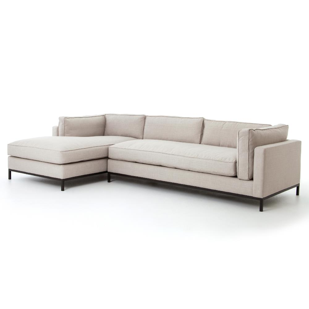 Diorama Modern Classic Beige Left Arm Chaise Sectional Sofa