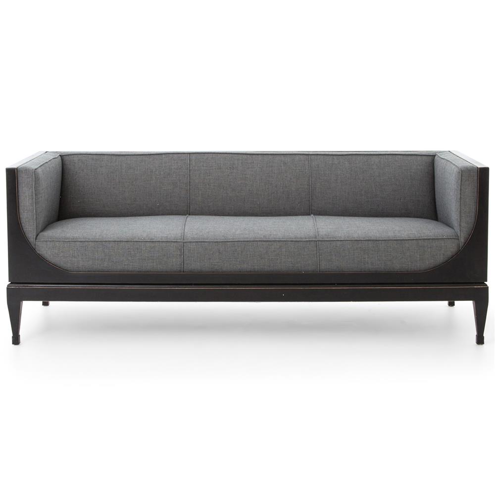 Frasier modern classic charcoal linen black walnut sofa for Sofa modern classic