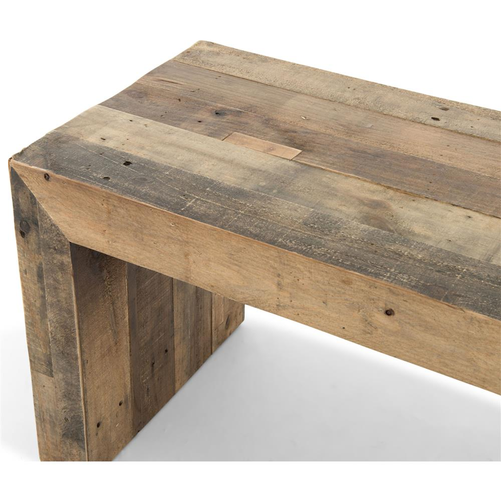 Wynn modern rustic lodge chunky reclaimed wood bench for Recycled hardwood