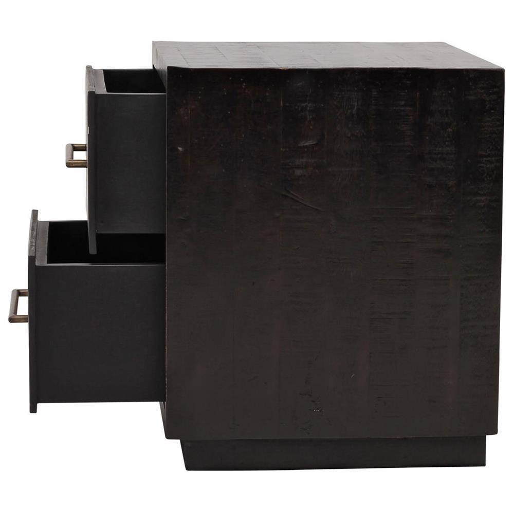 dorwin industrial loft espresso brown wood 2 drawer nightstand 11474 | product 11474 5