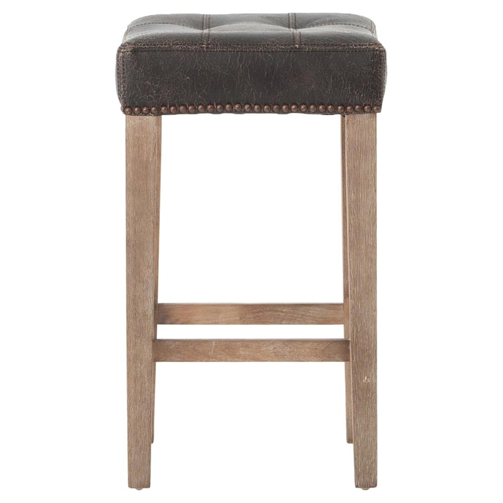 Milton Distressed Black Leather Tufted Counter Stool