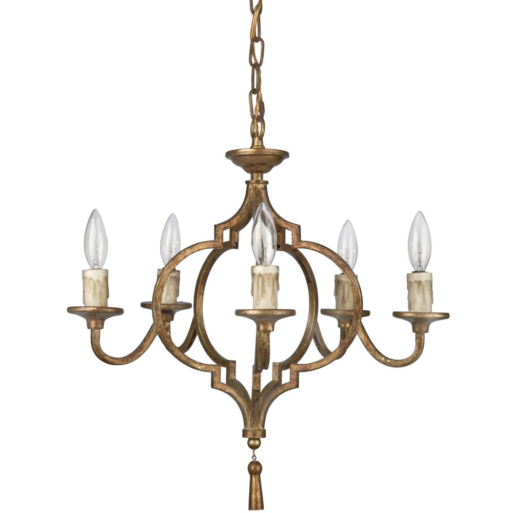 view full size ... - Coraline French Country Antique Gold Arabesque 5 Light Chandelier