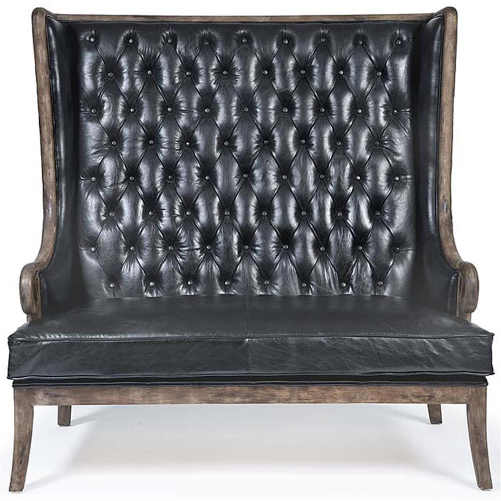 Vince Modern Clic High Back Tufted Black Leather Wood Brown On Sofa