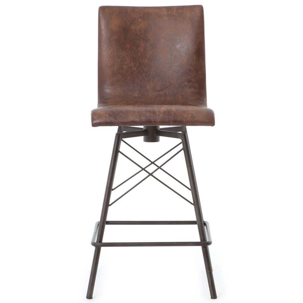 Crenshaw Industrial Loft Iron Leather Counter Stool