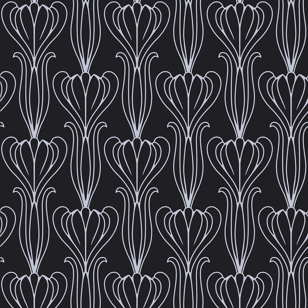 tulip art nouveau modern classic black silver removable