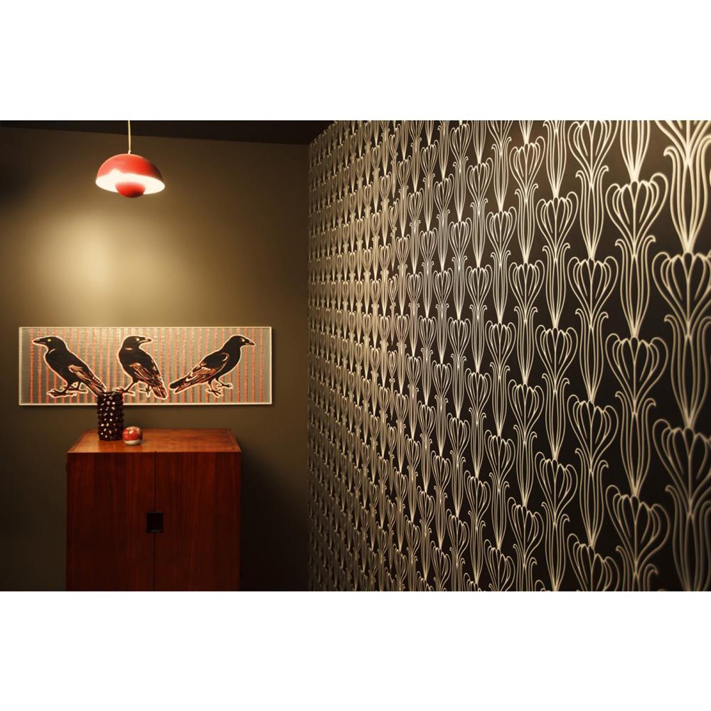 Tulip art nouveau modern classic black silver removable for Metallic removable wallpaper