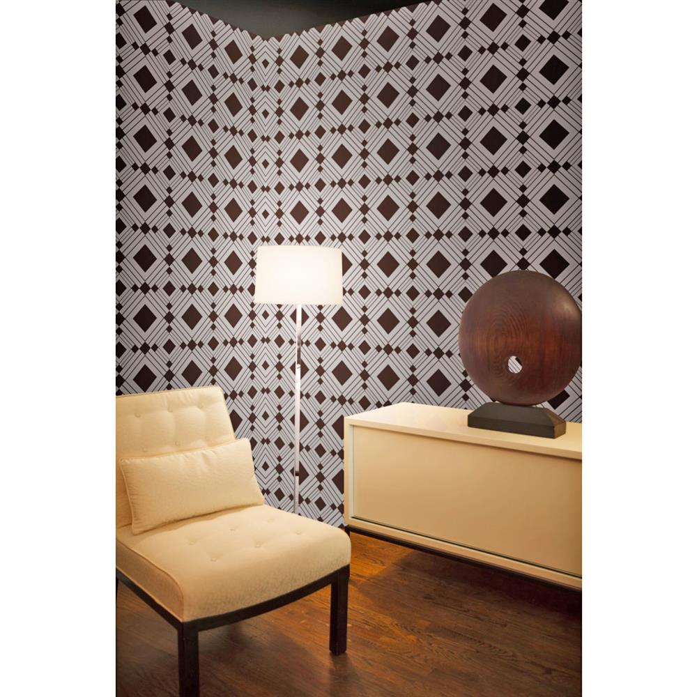 Diamond modern classic brown silver geometric removable for Removable wallpaper