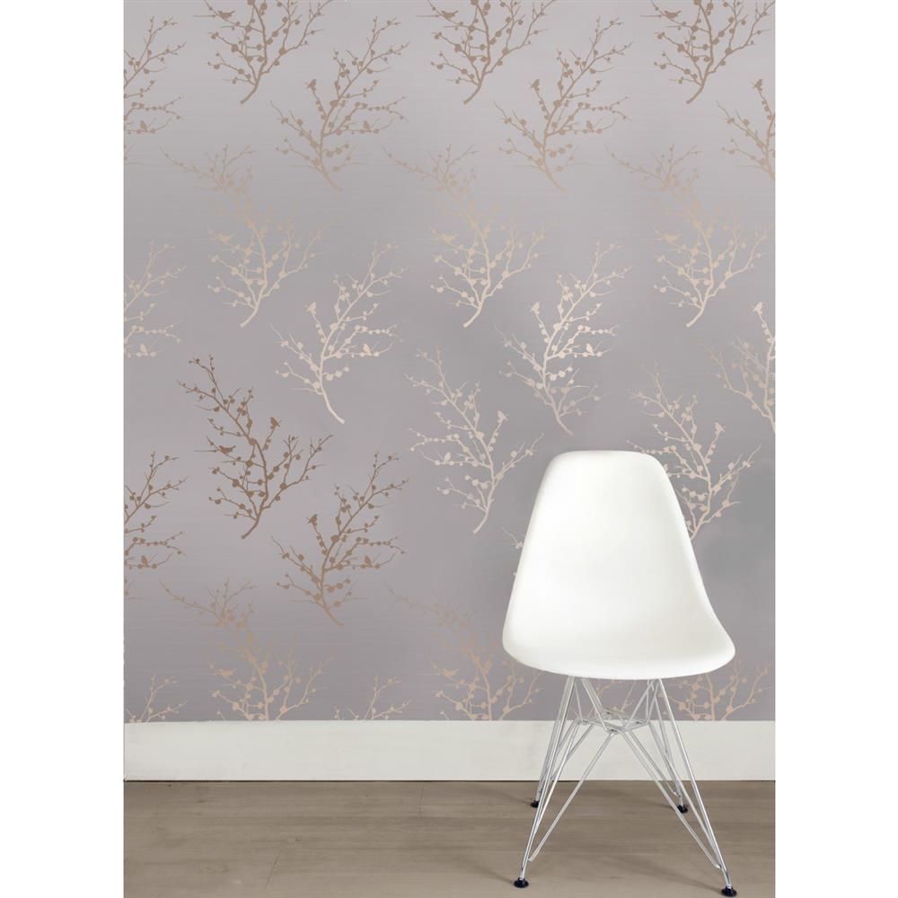Sprig modern classic metallic bronze taupe removable wallpaper for Metallic removable wallpaper