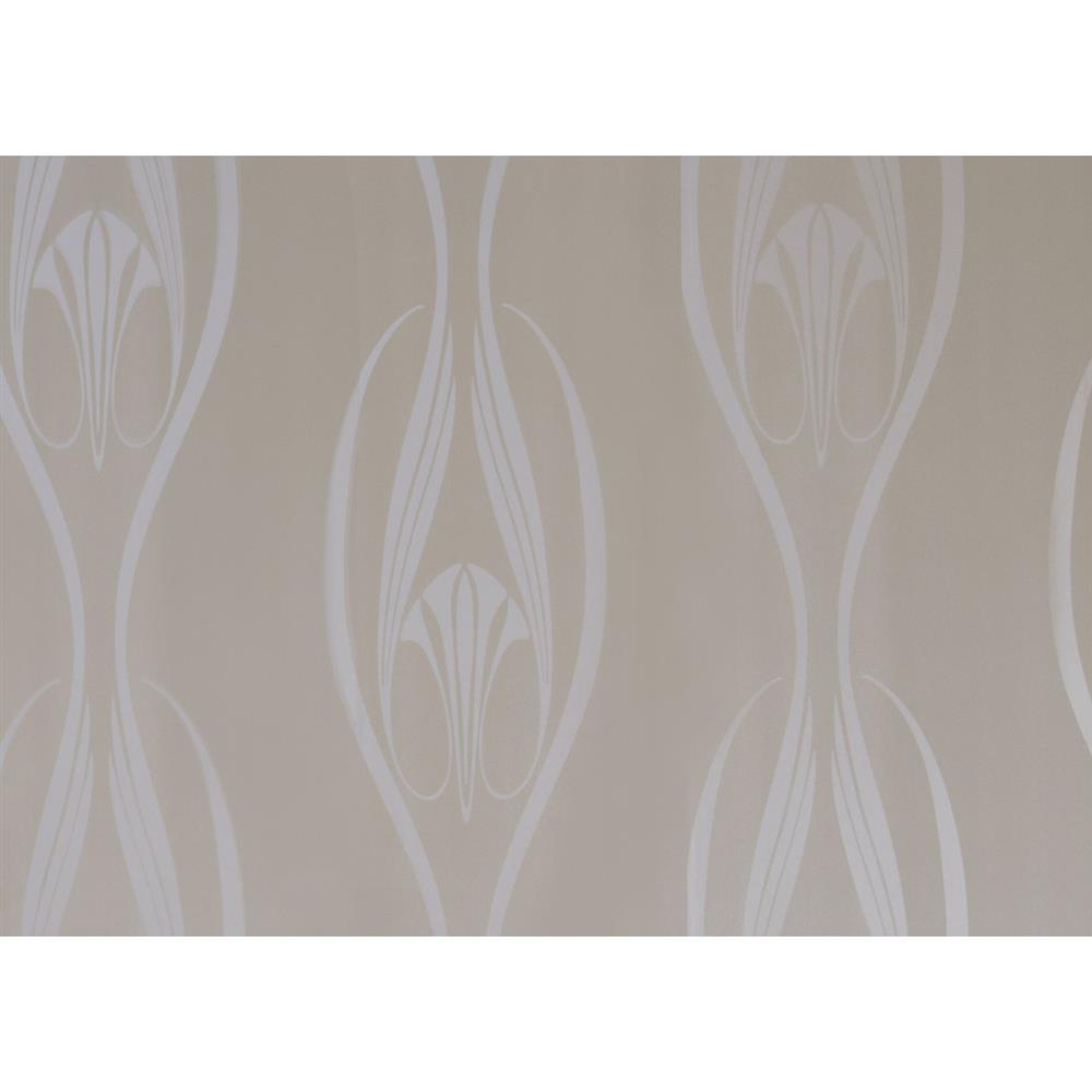 Abstract trumpet modern classic pearl taupe removable for Metallic removable wallpaper