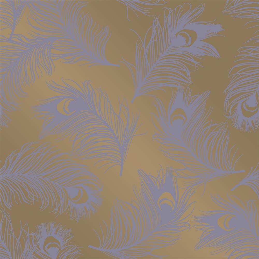 Feathers hollywood regency gold lavender removable for Gold self adhesive wallpaper