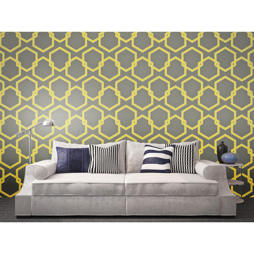 Honeycomb industrial loft grey yellow white removable for Removable wallpaper