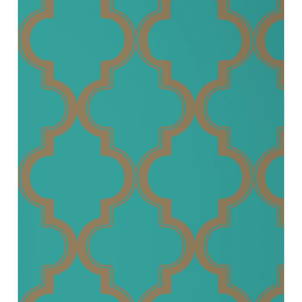 Moroccan Trellis Global Bazaar Jade Gold Removable Wallpaper ...