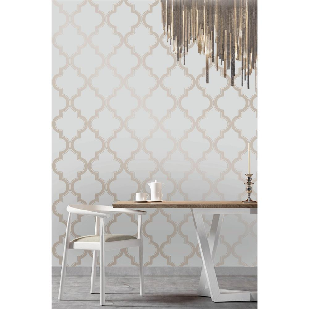 Moroccan trellis global bazaar grey beige removable for Removable wallpaper