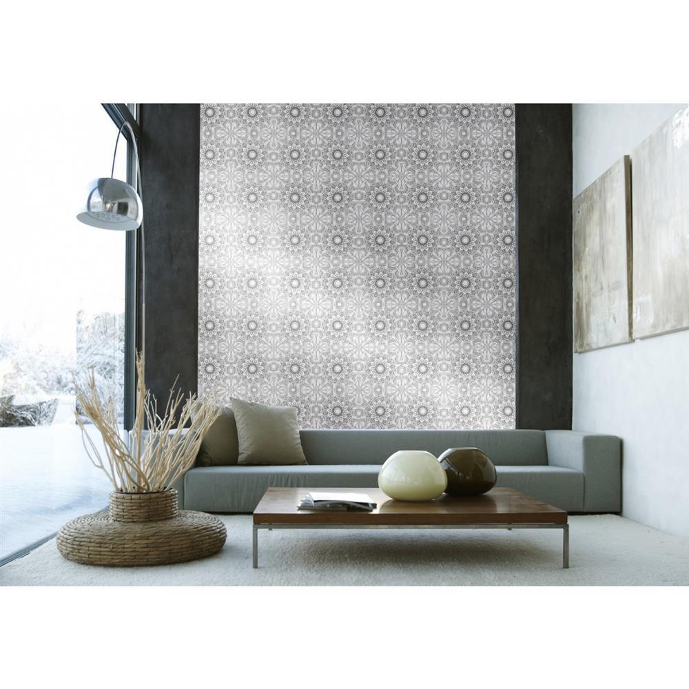 Henna global bazaar metallic platinum black removable for Metallic removable wallpaper