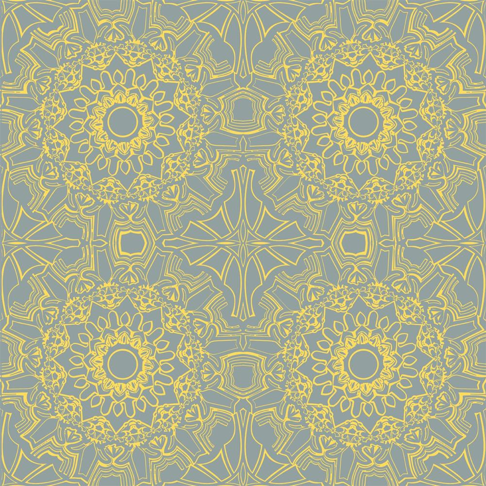 Henna Global Bazaar Yellow Grey Removable Wallpaper