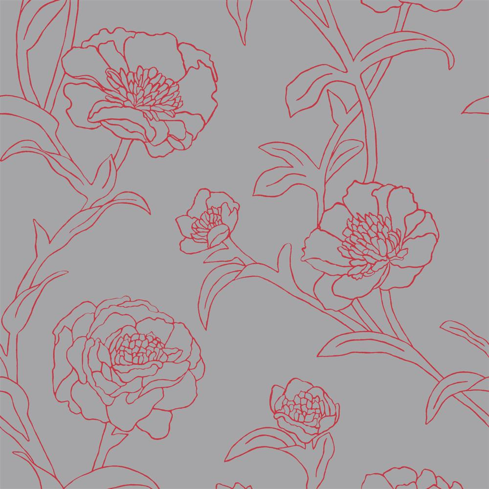 peonies modern classic pink grey floral removable