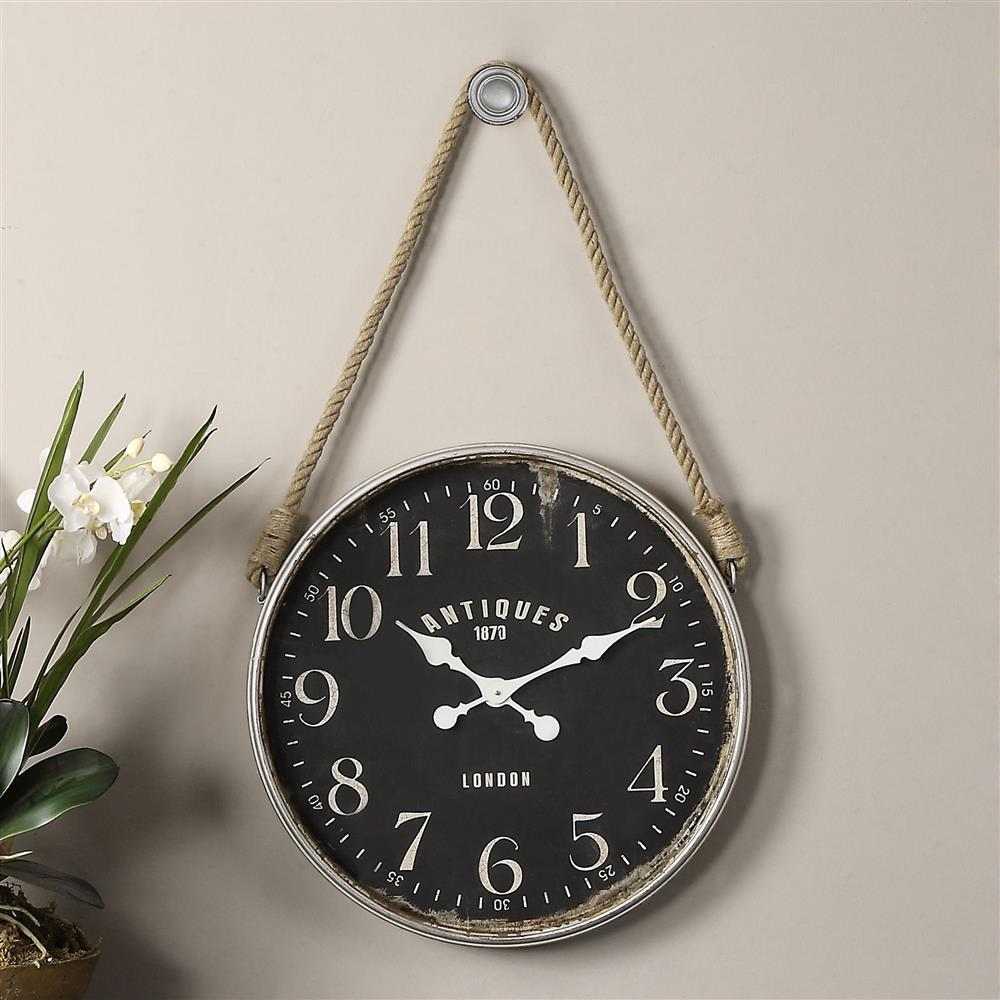 engels industrial loft rustic rope hanging wall clock kathy kuo home. Black Bedroom Furniture Sets. Home Design Ideas