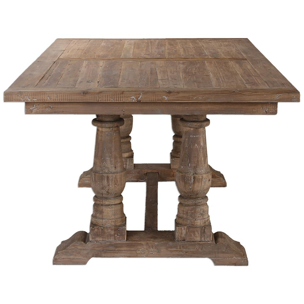 Gamble rustic lodge reclaimed fir stone wash dining table for Stone dining table