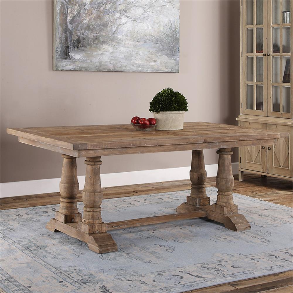 Gamble Rustic Lodge Reclaimed Fir Stone Wash Dining Table Kathy - Aged wood dining table