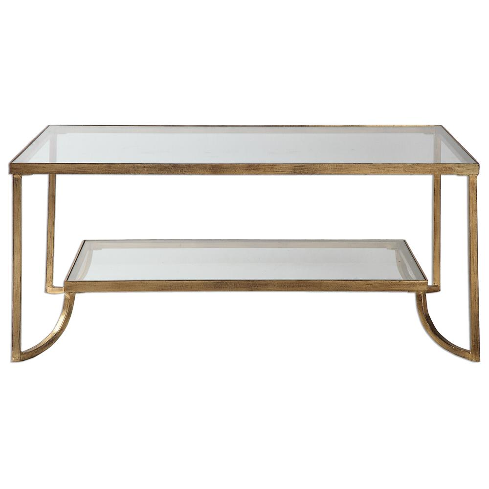 Antique Gold Coffee Table: Madox Modern Classic Antique Gold Leaf Glass Coffee Table