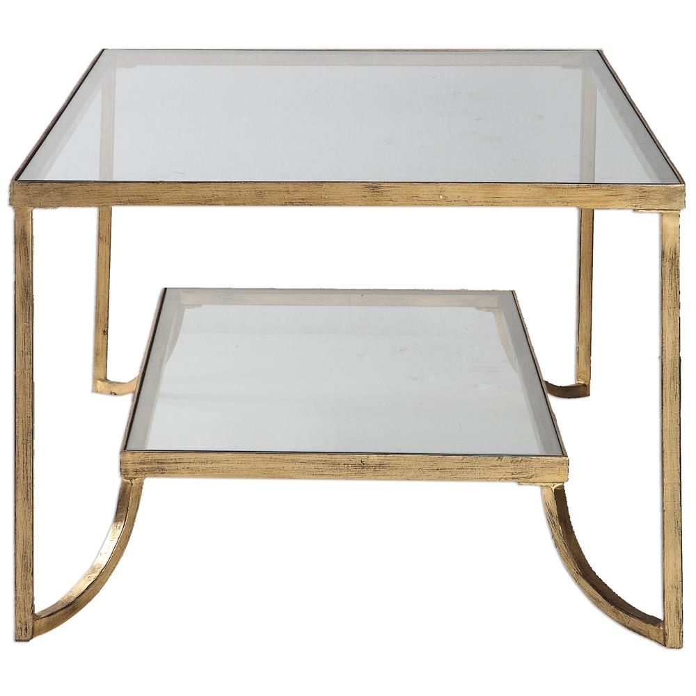 Relatively Madox Modern Classic Antique Gold Leaf Glass Coffee Table | Kathy  YW26