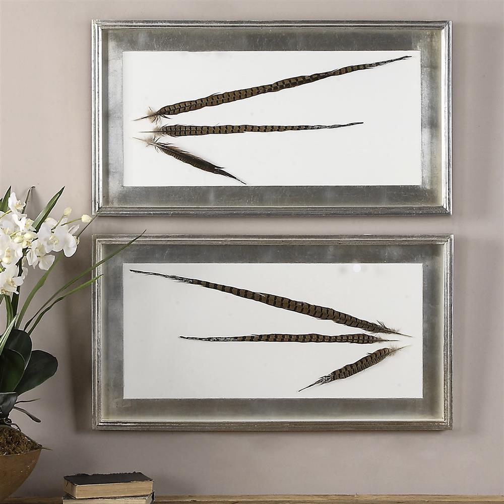 Wall Art Shadow Box : Faisan modern classic dipped feather shadow box wall decor