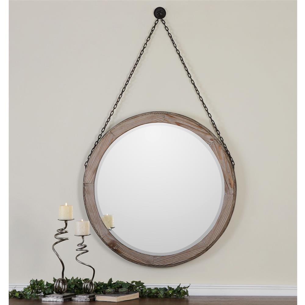 Colte Rustic Lodge Bronze Chain Hanging Round Fir Wall Mirror