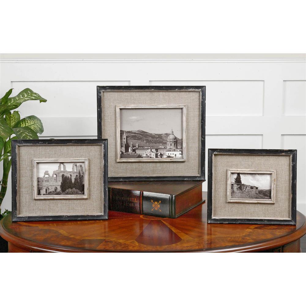 Ashe Rustic Lodge Black Burlap Wood Photo Frames - Set of 3