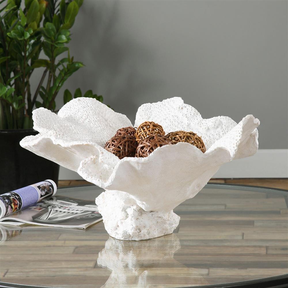 Hali coastal beach textured ivory resin coral bowl kathy