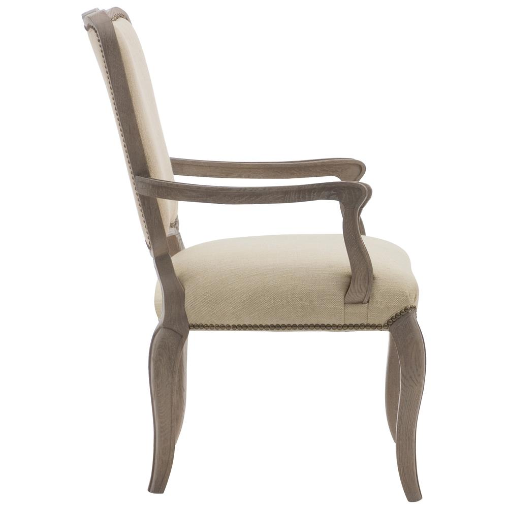 Odette French Country Weathered Oak Ivory Linen Dining Armchair Kathy Kuo Home