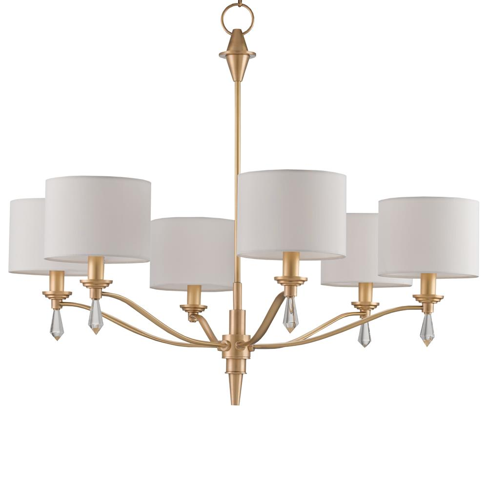 Kim Modern Classic Brushed Gold Crystal Finial 6 Light Chandelier