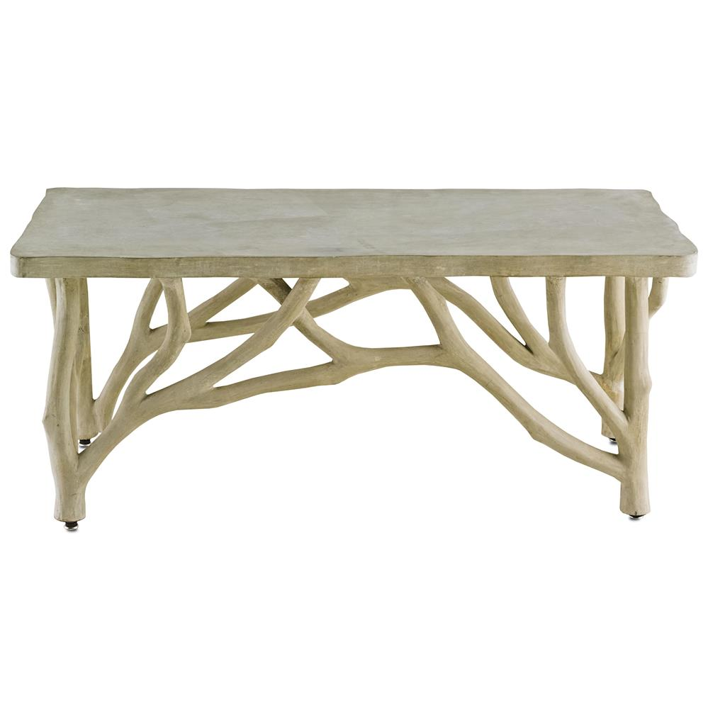 Greatest Elowen Rustic Lodge Concrete Birch Coffee Table | Kathy Kuo Home OQ76