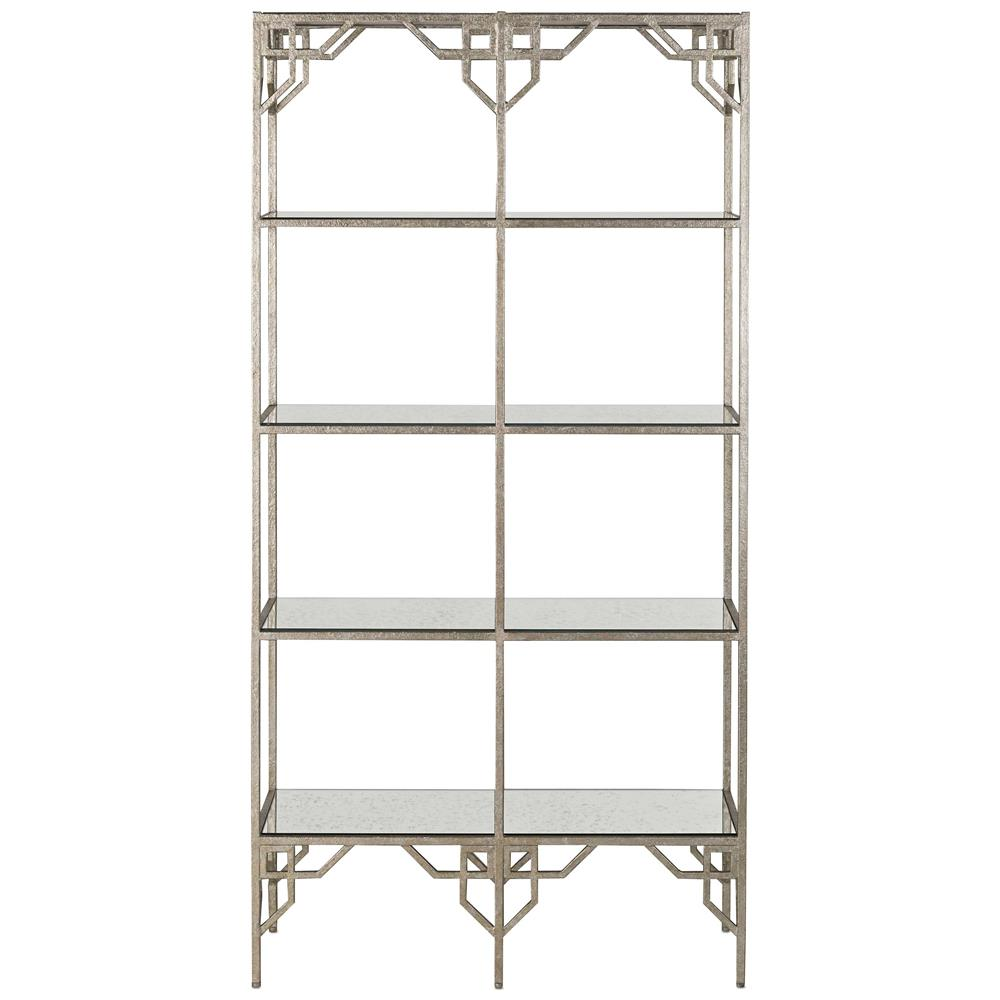 brolin hollywood regency silver antique mirror etagere