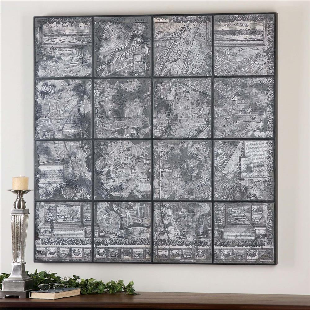 Kase industrial loft dark antique mirror parisian map wall art for Mirror wall art