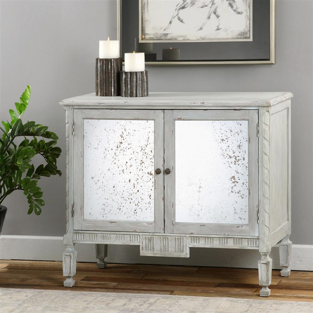 Mirrored Cabinet: Bellport Coastal Beach Grey Antique Mirror Console Media