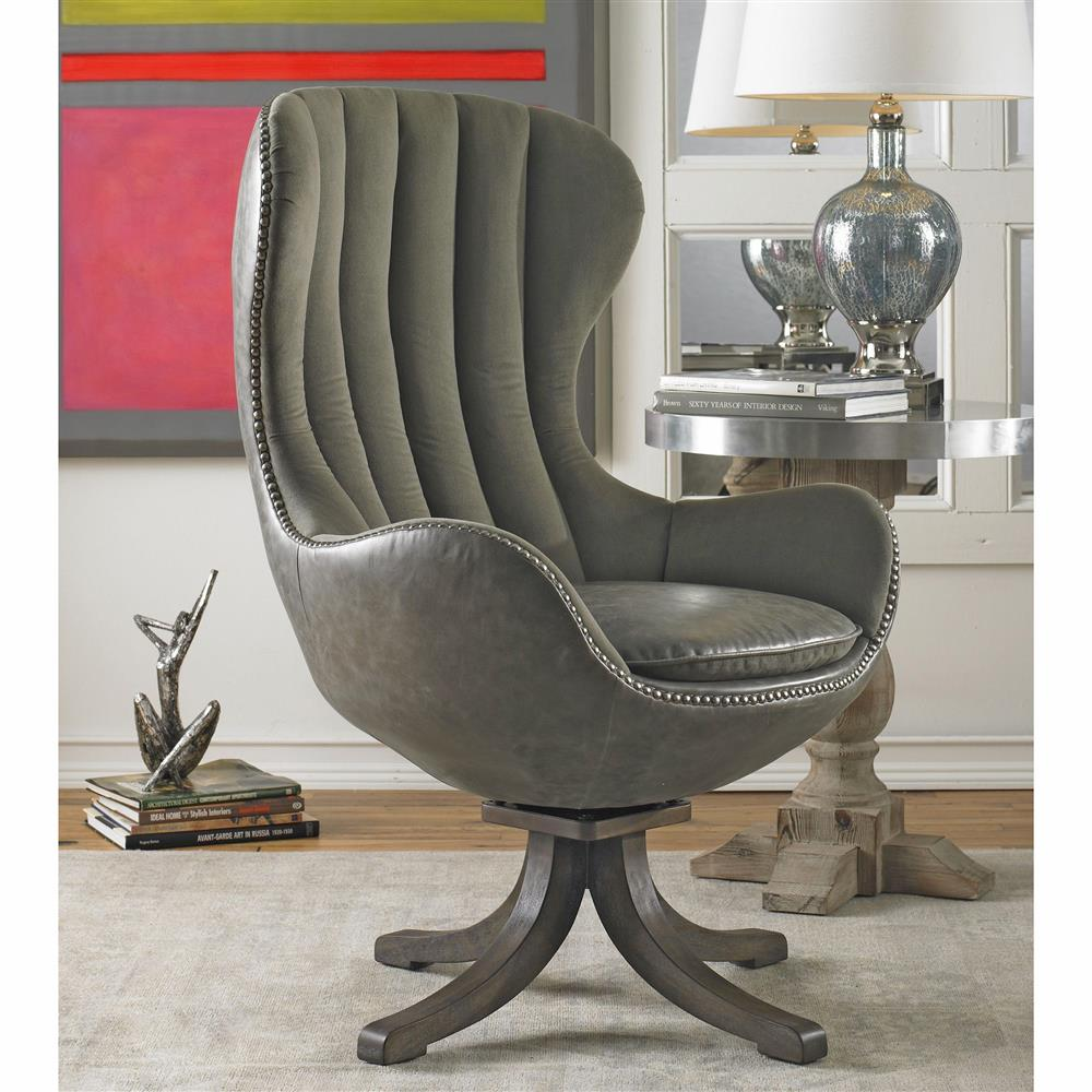 Davion Industrial Grey Velvet Mid Century Swivel Egg Chair