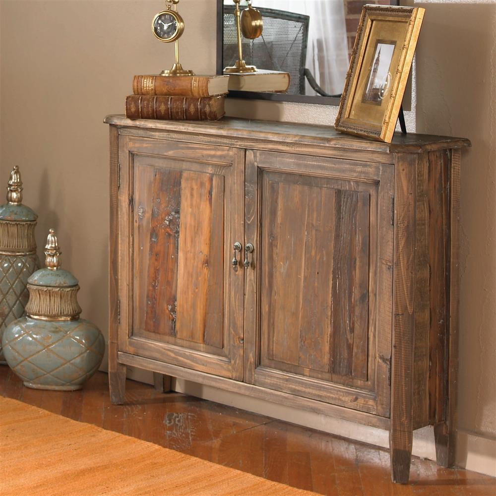 Vail Rustic Lodge Brown Reclaimed Fir Wood Console Cabinet