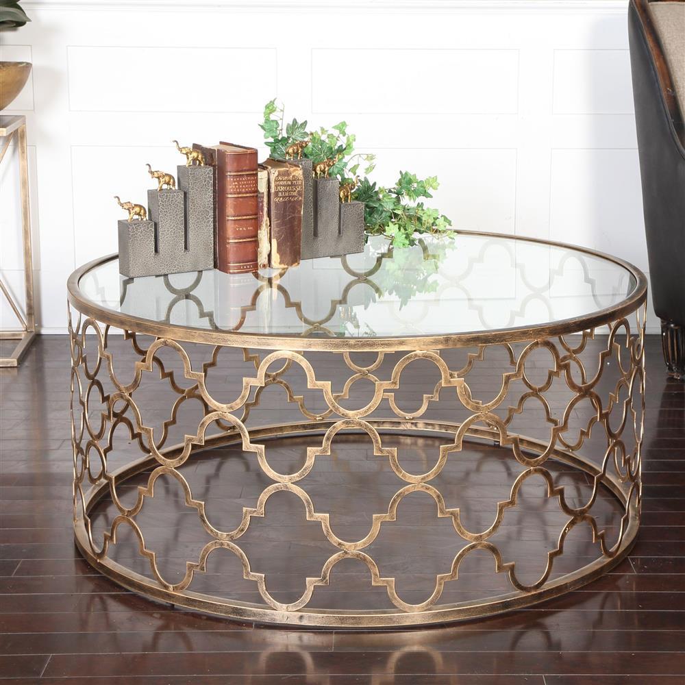 Lamarr global bazaar gold quatrefoil iron coffee table for Bizarre coffee table