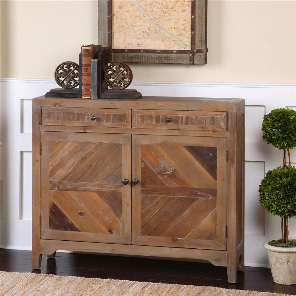 Hayward Rustic Lodge Reclaimed Fir Diamond Console Cabinet | Kathy Kuo Home