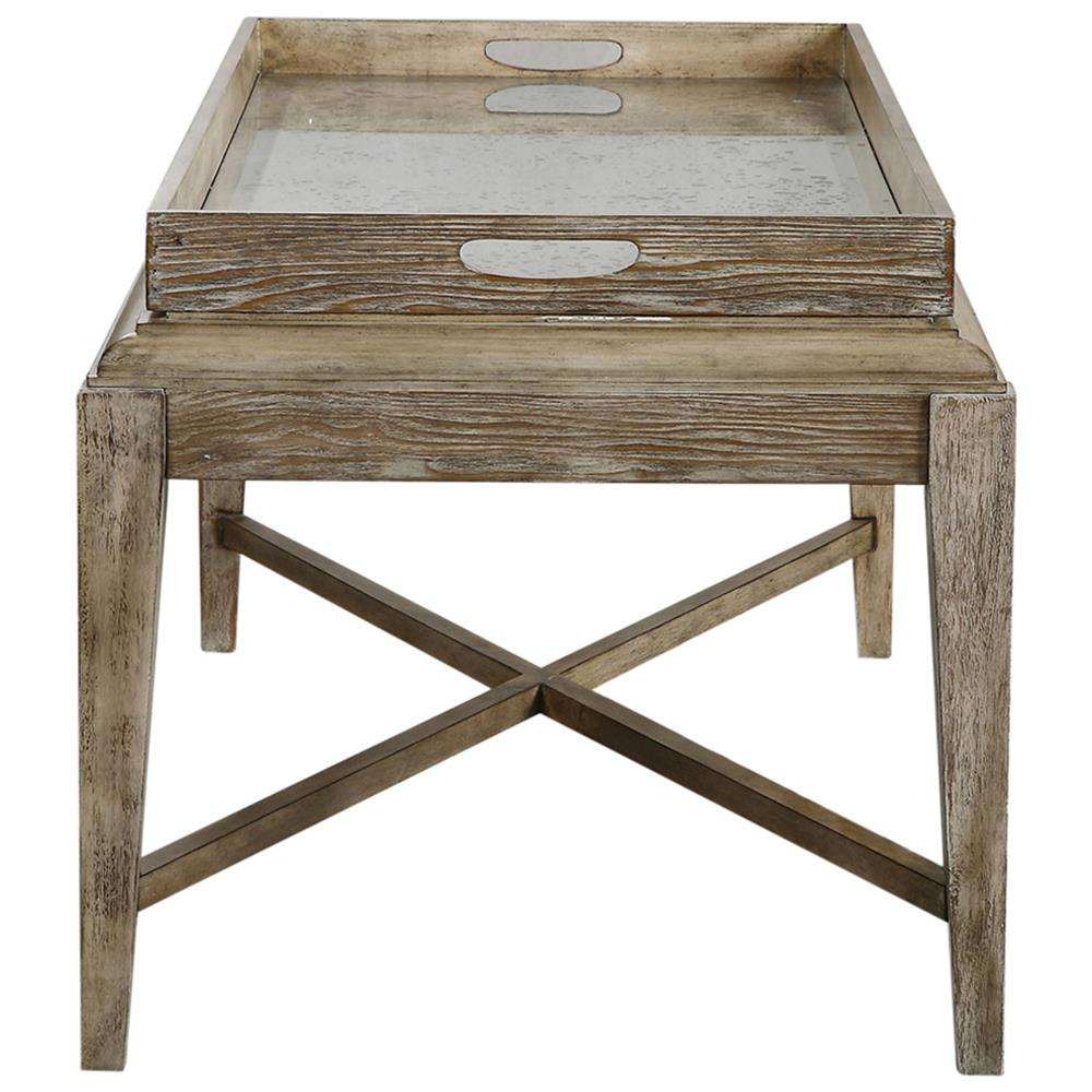 Moore rustic lodge antique mirror tray wood coffee table for Mirror and wood coffee table