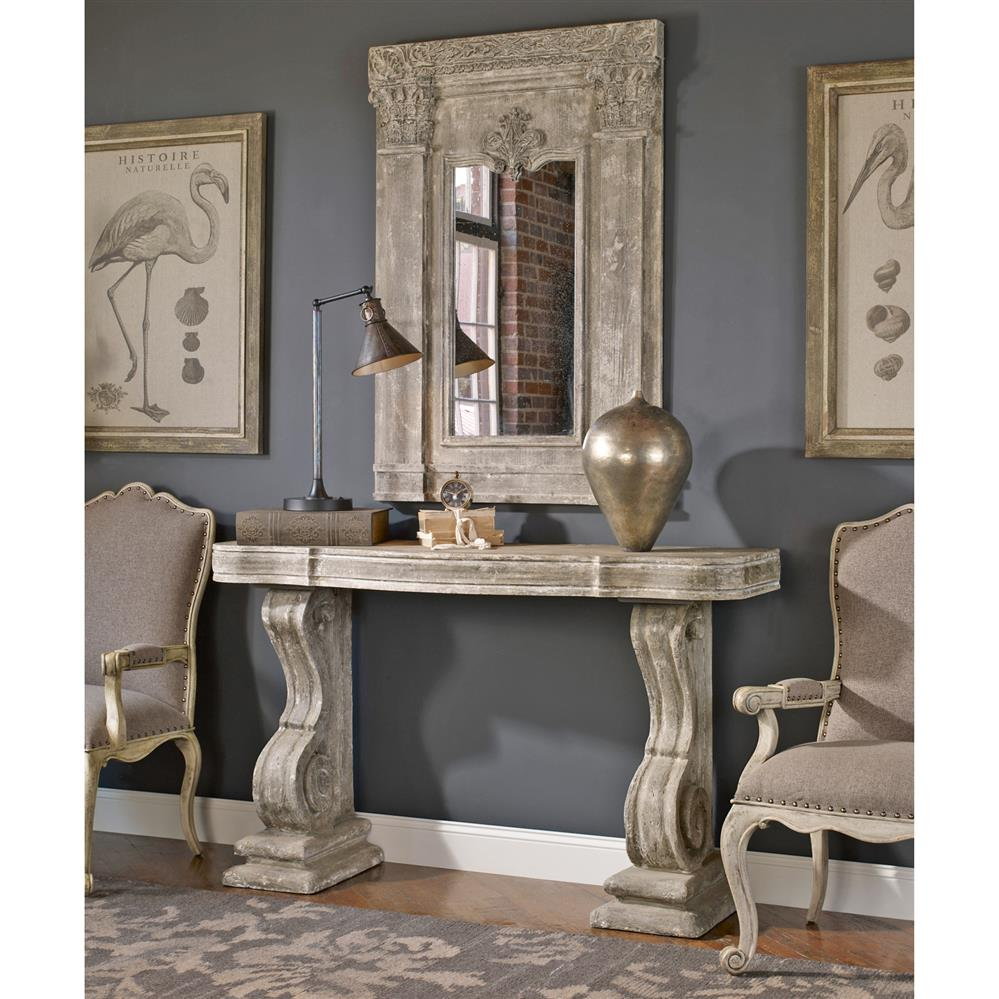 Stone Console Table: Lisette French Country Antique Grey Stone Carved Console Table
