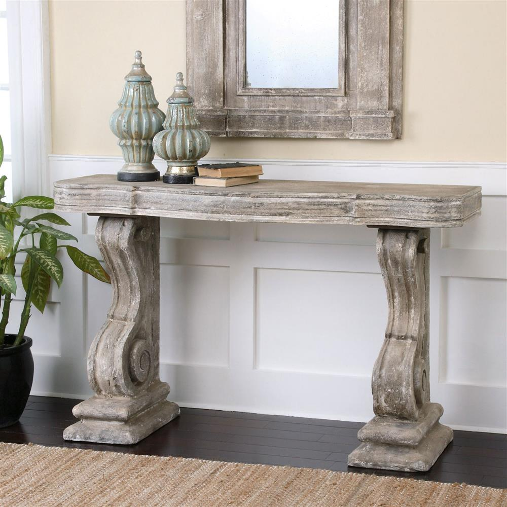 French Console Table lisette french country antique grey stone carved console table