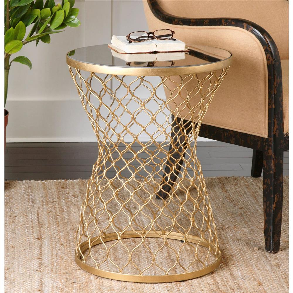 Aisha Global Bazaar Mirrored Gold End Table Kathy Kuo Home
