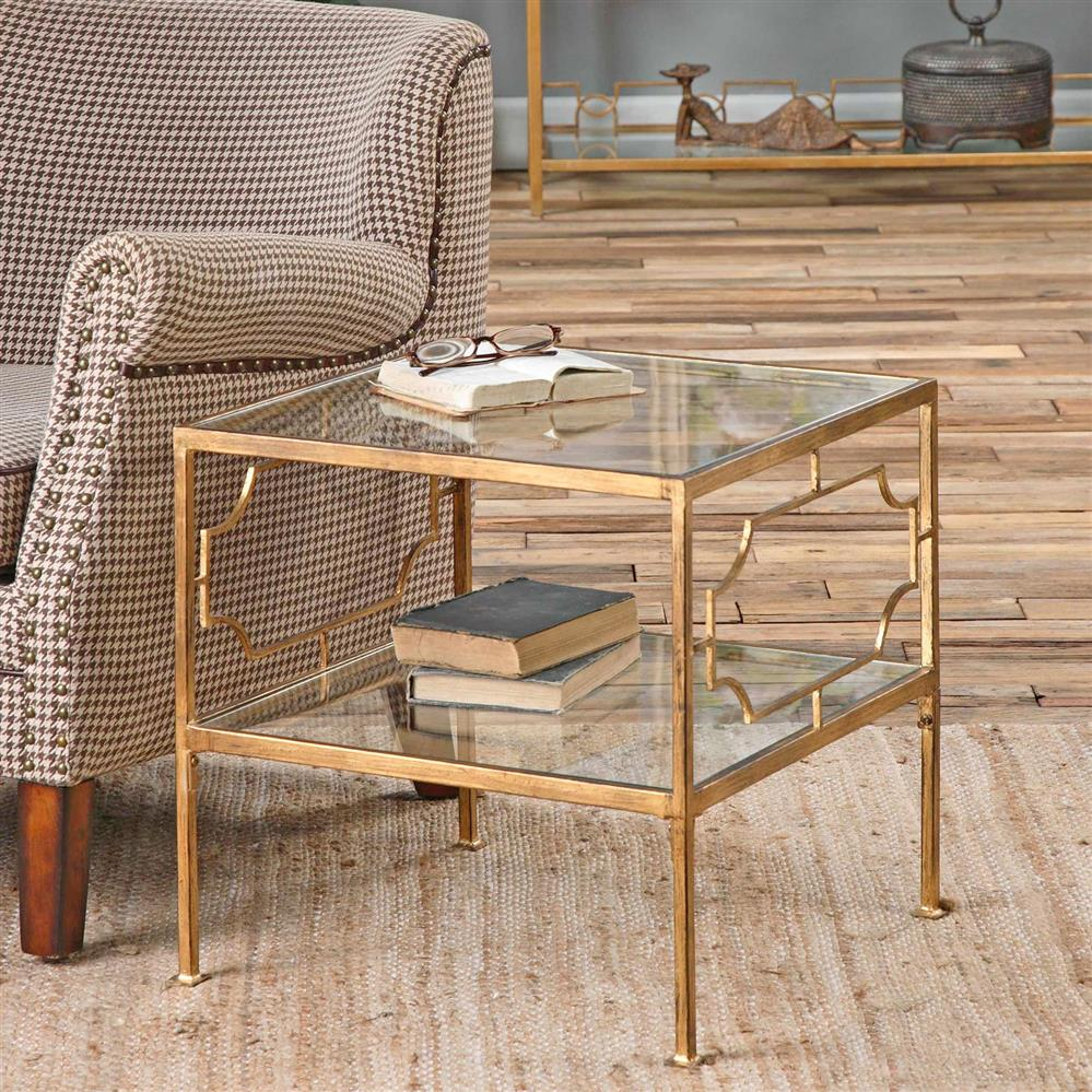 miriam hollywood regency gold leaf iron glass shelf end table