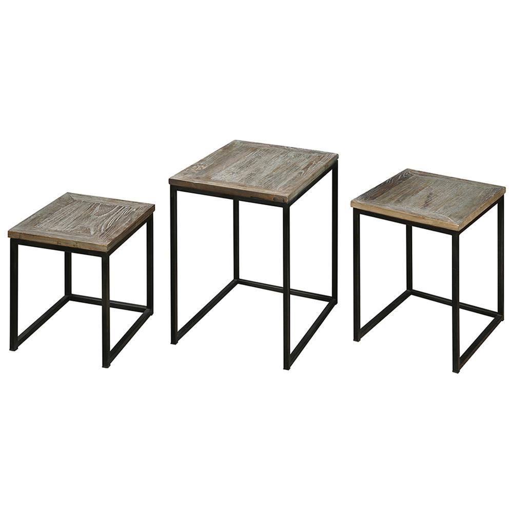 view full size ...  sc 1 st  Kathy Kuo Home & Macon Rustic Industrial Iron Elm Nesting Tables - Set of 3 | Kathy ...